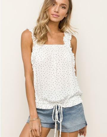Ruffle Strap Cinched Waist Crop  Top
