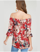 Off The Shoulder Floral Self Tie Knot Knit Top