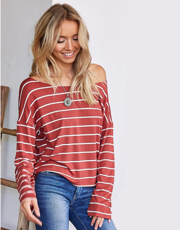 Striped Long Sleeve Boat Neck Knit Top