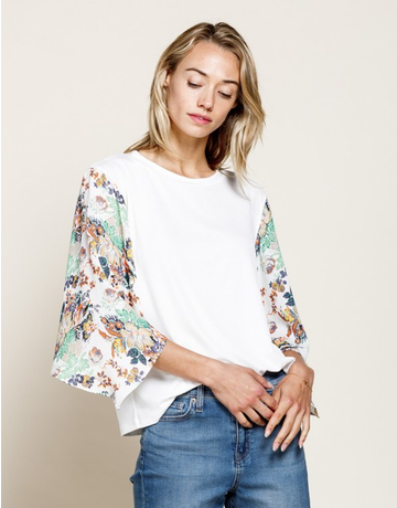 Contrast Floral Printed Sleeve Top