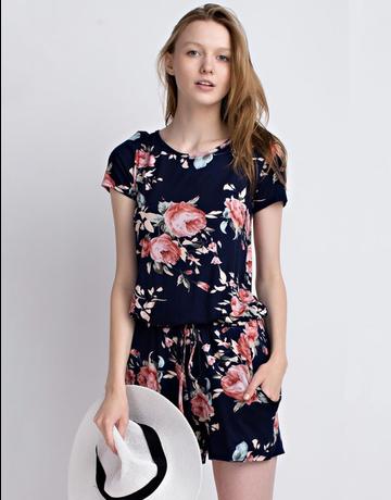Short Sleeve Floral Romper