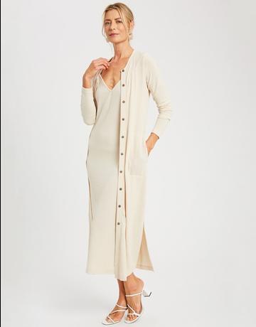 Ribbed Maxi Dress & Cardigan Set