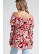 Off the shoulder butter soft floral top