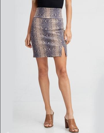High Waisted snake Print skirt w/ side slit