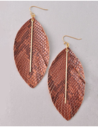 Leather Feather Earrings with Gold Bar