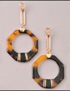Tortoise Shell Octagon Earrings