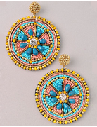 Beaded Circle Earrings with Flower Center