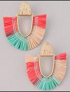 Half Oval Straw Earrings