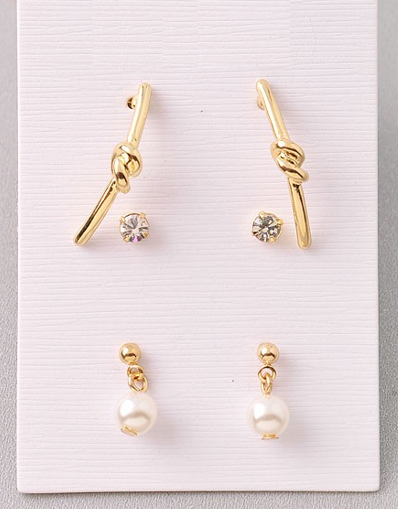 Knot and Pearl Earring Set