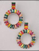 Rainbow Circle Jewel Earrings