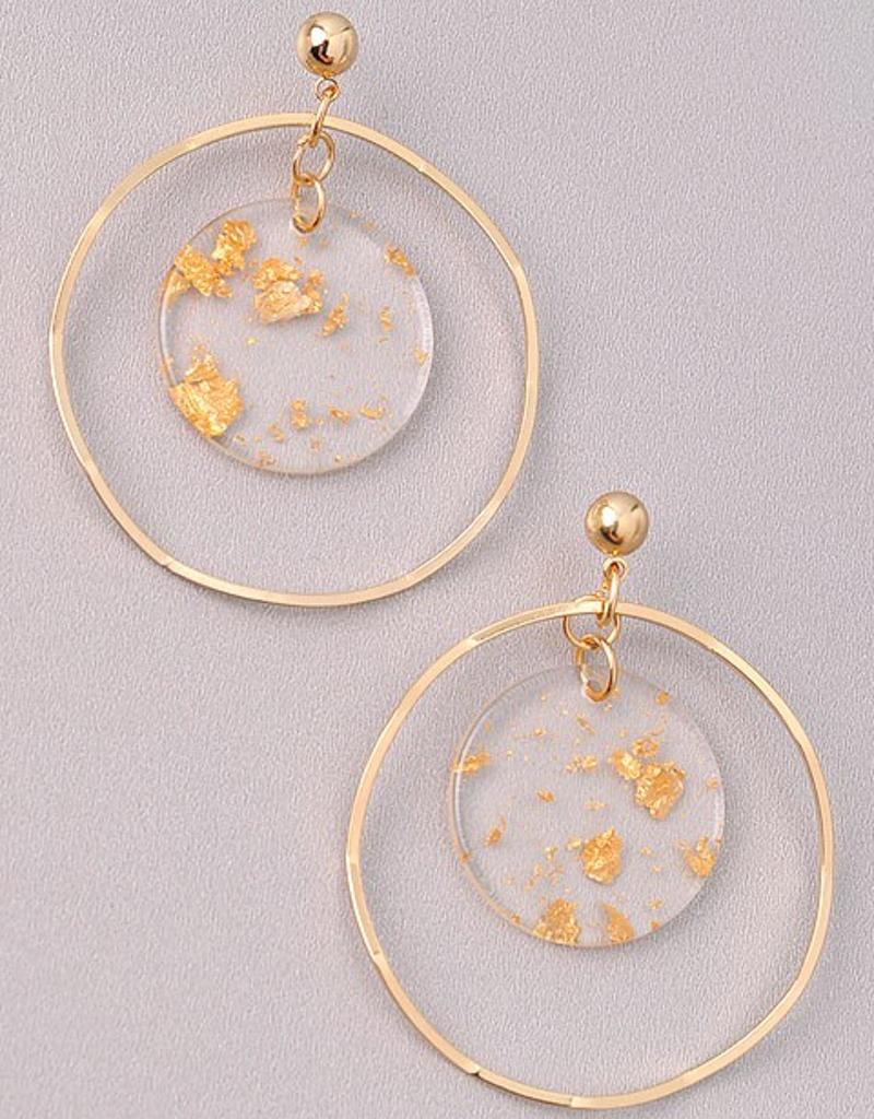 Gold Flakes Hoop Earrings