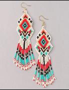 Multi Color Aztec Beaded Earrings