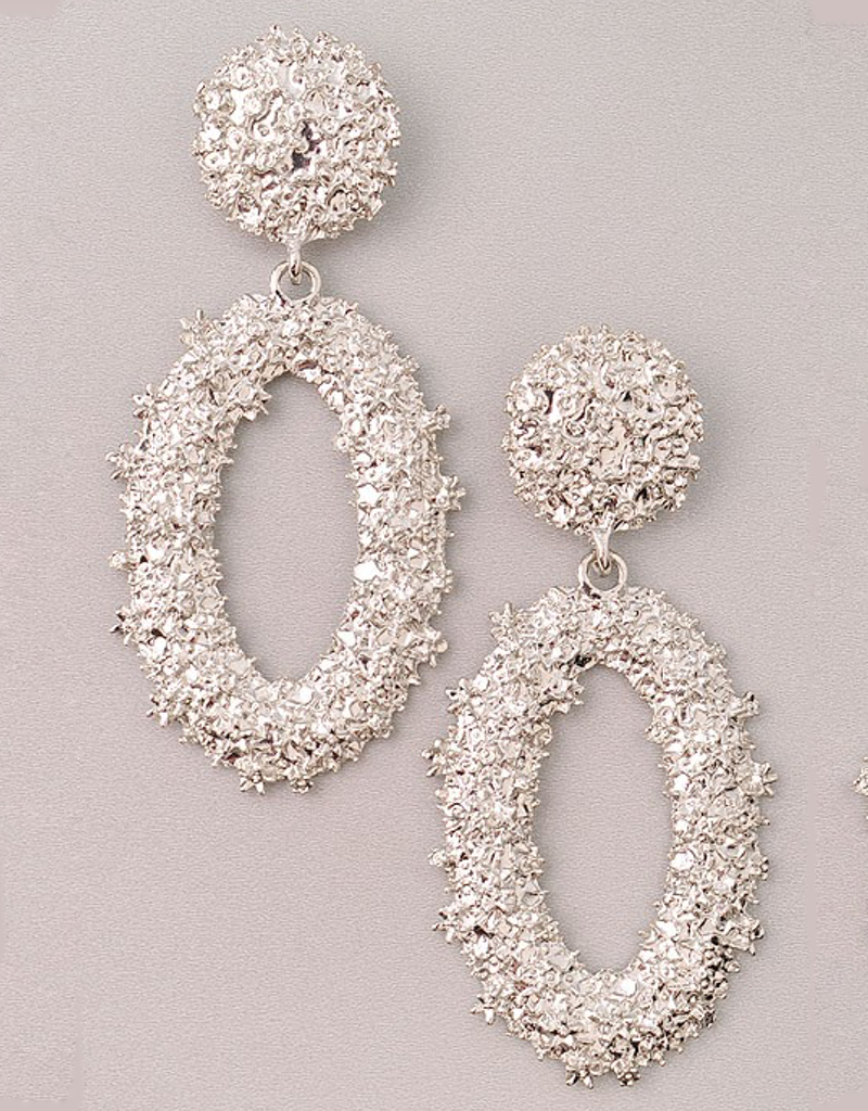 Metallic Crystal Oval Earrings