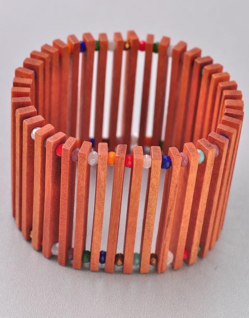 Wood Plank Rainbow Bead Bracelet