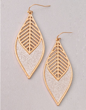 Glitter Accent Leaf Earrings