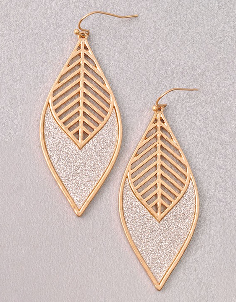 Glitter Accent Leaf Earrings