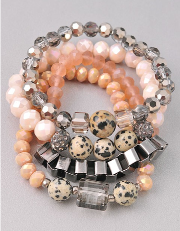 Beaded Bracelet Set with Metal Link