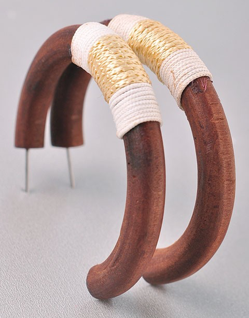 Wooden Hoops with Thread Detail