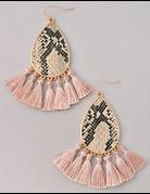 Tear Drop Snake Tassel Earrings
