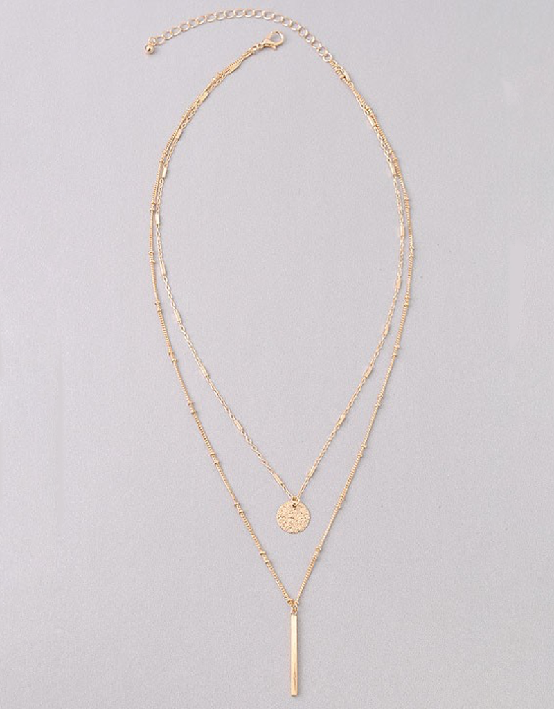 Layered Circle and Bar Necklace