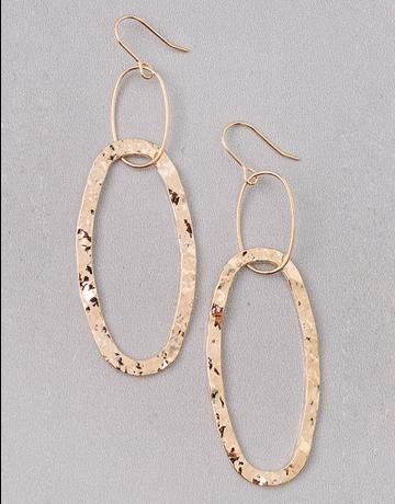 Pressed Gold Oval Dangle Earrings