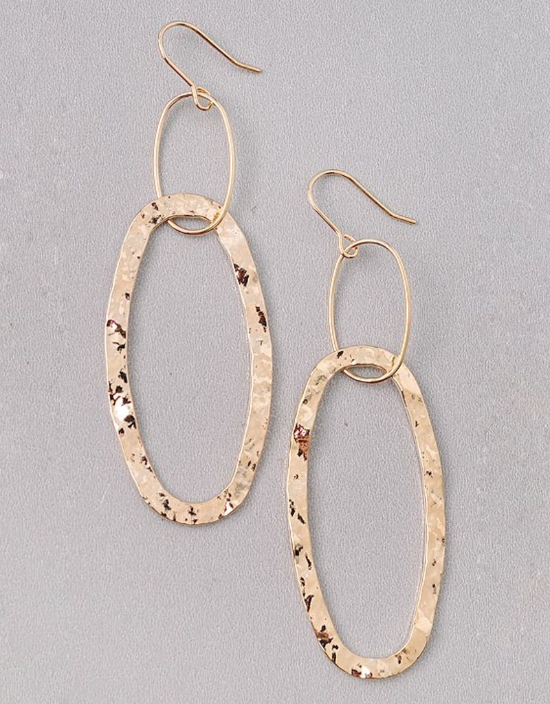 Pressed Gold Oval Dangle Earrings