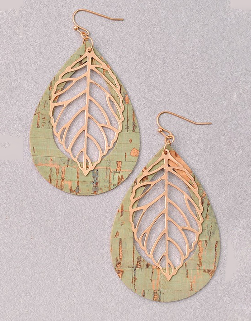Faux Wood  with Leaf Detail Earrings