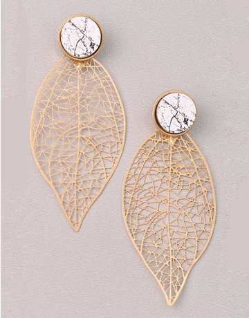 Marble Cutout Leaf Earring