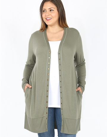 Curvy Full Sleeve Long Snap Cardigan