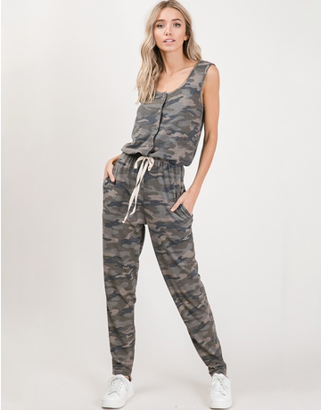 Camo Button Up Jumpsuit