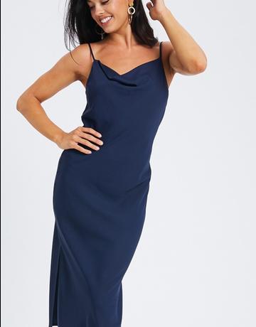 Satin Cowl Neck Midi Dress