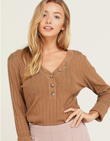 Fine Buttoned V-Neck Sweater