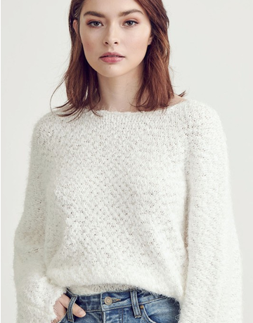 Fuzzy Bat Wing Pullover Sweater