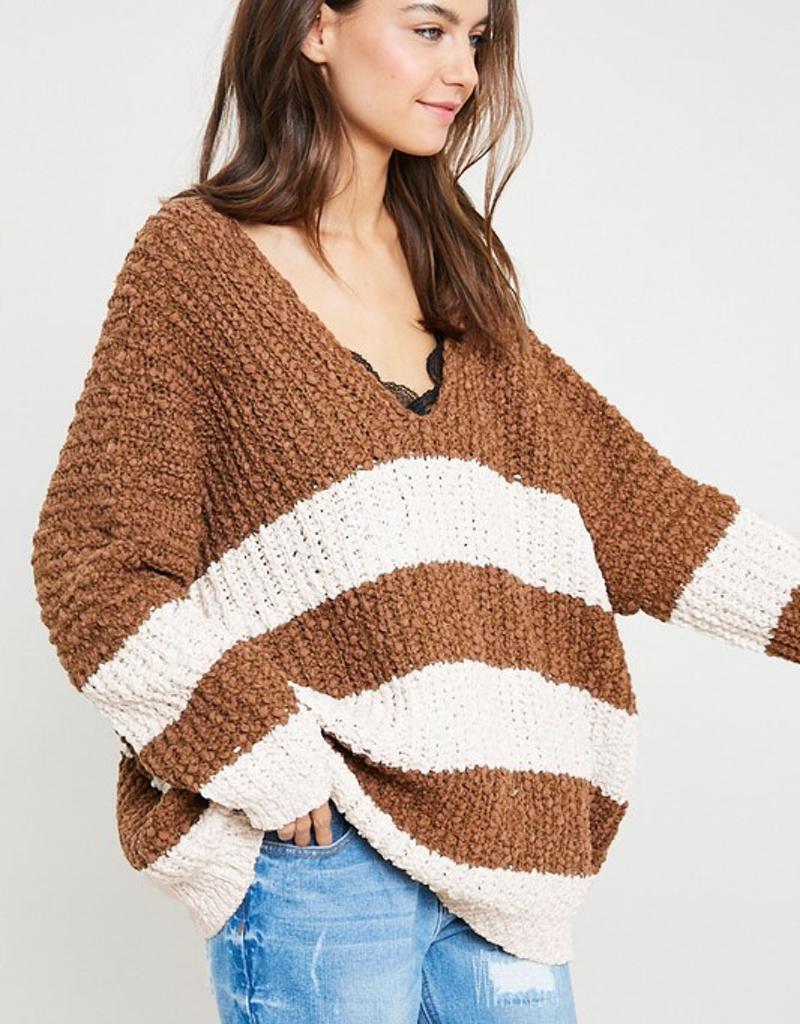 Striped Knit Popcorn Sweater