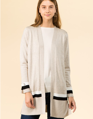 Striped Cardigan With Grommet Detail
