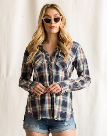 Button Up Plaid Top With Raw Hem
