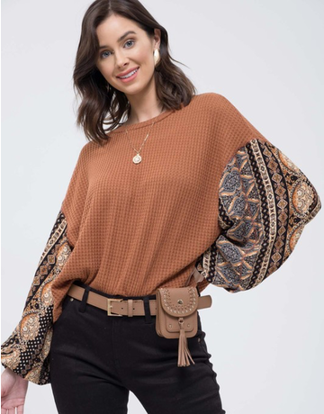 Contrast Sleeve Knit Top