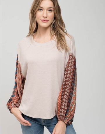Oversized Knit Top with Silk Printed Wide Sleeves