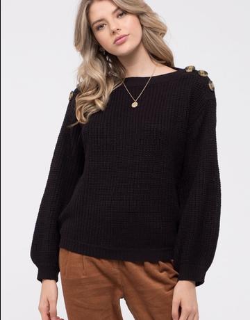 Button Detail Balloon Sleeve Sweater