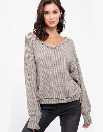 Squared Waffle Knit Top