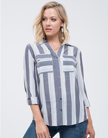 Striped Button Up With Cuffed Sleeves