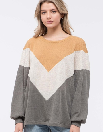 Chevron Color Block Knit Top