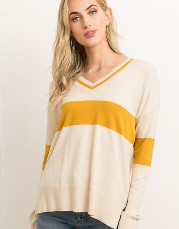 V-Neck Zipper Colorblock Sweater