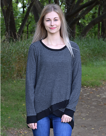 Cozy Striped Overlay Top
