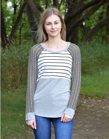 Striped Knit Colorblock Top