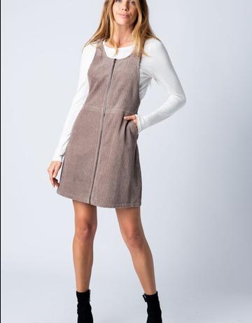 Corduroy Zip Up Mini Dress
