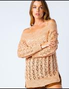 Knit Off Shoulder Sweater W/ Eyelets