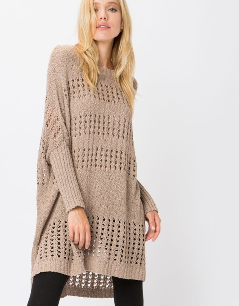 Poncho Sweater Dress W/ Eyelets
