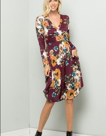 Floral Midi Dress W/Pocket