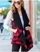 Plaid Print Fur Vest